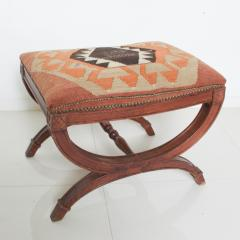 Vintage Carved Wood Curule Stool Studded Brass Bench in Handwoven Kilim - 1607448