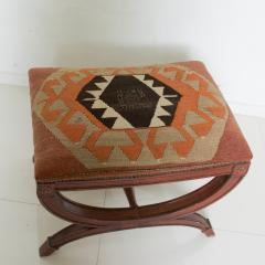 Vintage Carved Wood Curule Stool Studded Brass Bench in Handwoven Kilim - 1607453