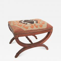 Vintage Carved Wood Curule Stool Studded Brass Bench in Handwoven Kilim - 1608297