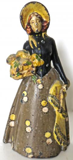 Vintage Cast Iron Doorstop Lady With Flowers American Circa 1915 - 895723