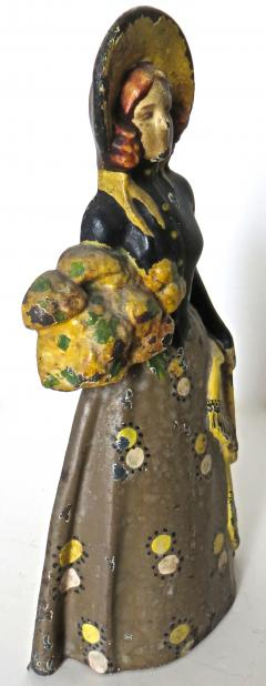 Vintage Cast Iron Doorstop Lady With Flowers American Circa 1915 - 895726