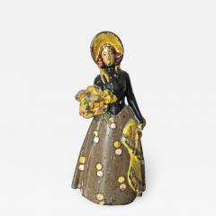 Vintage Cast Iron Doorstop Lady With Flowers American Circa 1915 - 899345