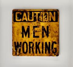 Vintage Caution Men Working  - 1714273