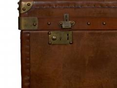Vintage English Raw Patinated Leather Brass Mounted Travel Trunk - 1163857