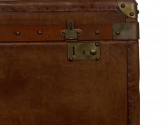 Vintage English Raw Patinated Leather Brass Mounted Travel Trunk - 1163858