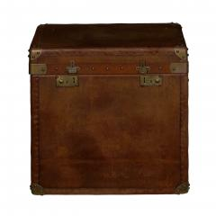 Vintage English Raw Patinated Leather Brass Mounted Travel Trunk - 1163859