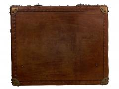 Vintage English Raw Patinated Leather Brass Mounted Travel Trunk - 1163866