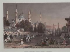 Vintage Engraving of the Blue Mosque Circa 20th Century - 1401207