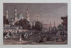 Vintage Engraving of the Blue Mosque Circa 20th Century - 1401355