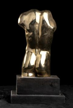 Vintage French Gold Bronze Nude Man Torso Sculpture - 2000843