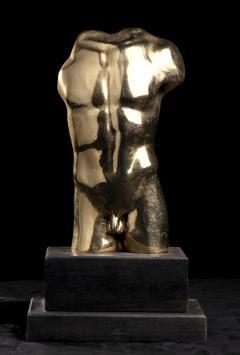 Vintage French Gold Bronze Nude Man Torso Sculpture - 2000844