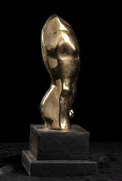 Vintage French Gold Bronze Nude Man Torso Sculpture - 2000846