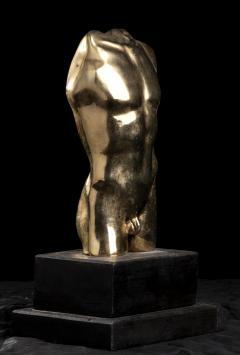 Vintage French Gold Bronze Nude Man Torso Sculpture - 2000847