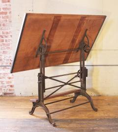 Vintage Industrial Cast Iron And Wood Frederick Post Adjustable Drafting  Table   284002