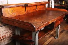 Perfect Vintage Industrial Wood Cast Iron Work Table   309857