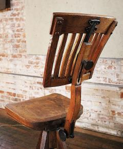 Vintage Industrial Wood And Cast Iron Adjustable Drafting Stool Made By  Cook   313597
