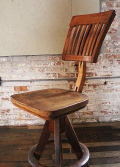 Wood Drafting Stool vintage industrial wood and cast iron adjustable drafting stool