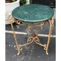 Vintage Iron Tole Marble Top Grape Vine Garden Table - 2019796