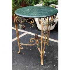 Vintage Iron Tole Marble Top Grape Vine Garden Table - 2019797