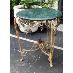 Vintage Iron Tole Marble Top Grape Vine Garden Table - 2019798