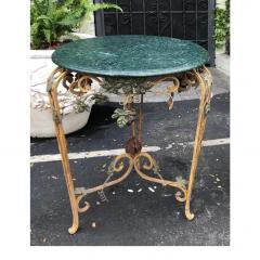 Vintage Iron Tole Marble Top Grape Vine Garden Table - 2019799