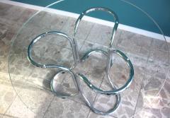 Vintage Italian Circular Glass Table with Metal Base - 689444