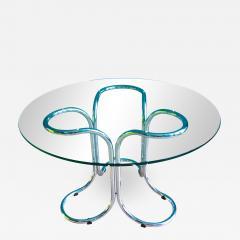 Vintage Italian Circular Glass Table with Metal Base - 689877