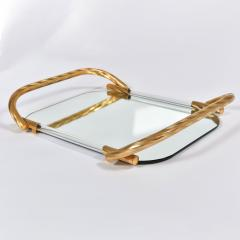 Vintage Italian mirrored tray with brass handles - 1272542