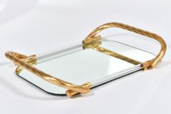 Vintage Italian mirrored tray with brass handles - 1279758