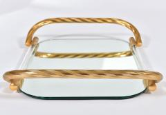 Vintage Italian mirrored tray with brass handles - 1279759
