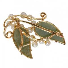 Vintage Jade and Pearls 14Ct Gold Brooch - 150408