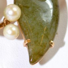 Vintage Jade and Pearls 14Ct Gold Brooch - 150409