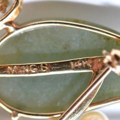 Vintage Jade and Pearls 14Ct Gold Brooch - 150410