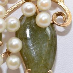 Vintage Jade and Pearls 14Ct Gold Brooch - 150411