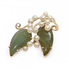 Vintage Jade and Pearls 14Ct Gold Brooch - 150414