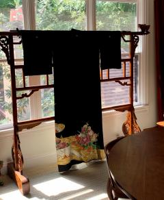 Vintage Japanese Formal Black Silk Kimono - 1550422