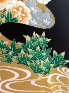 Vintage Japanese Formal Black Silk Kimono - 1550426