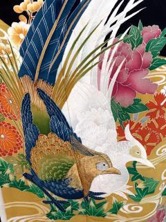 Vintage Japanese Formal Black Silk Kimono - 1550427