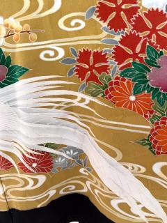Vintage Japanese Formal Black Silk Kimono - 1550428