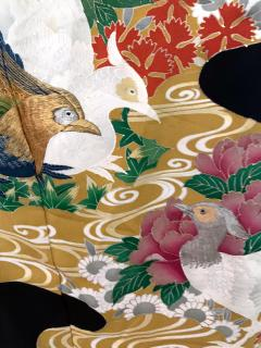 Vintage Japanese Formal Black Silk Kimono - 1550431