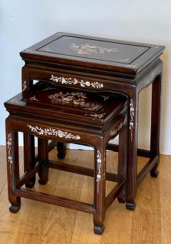 Vintage Japanese Mother of Pearl Inlaid Rosewood Nesting Tables - 1999862