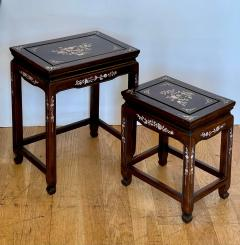 Vintage Japanese Mother of Pearl Inlaid Rosewood Nesting Tables - 1999867