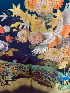 Vintage Japanese Silk Kimono with Designs - 1539919