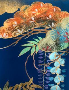 Vintage Japanese Silk Kimono with Designs - 1539920