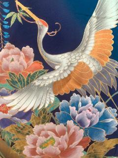 Vintage Japanese Silk Kimono with Designs - 1539921