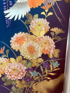 Vintage Japanese Silk Kimono with Designs - 1539922