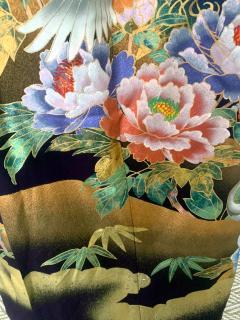 Vintage Japanese Silk Kimono with Designs - 1539923