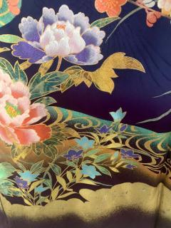 Vintage Japanese Silk Kimono with Designs - 1539924