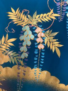 Vintage Japanese Silk Kimono with Designs - 1539925