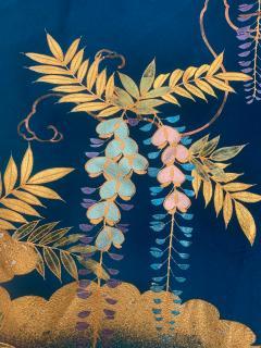 Vintage Japanese Silk Kimono with Designs - 1539927